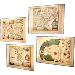 Four Early American Vintage 1950s Heritage Maps